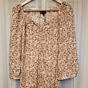 Jones NY women's 1x floral peasant top 3/4 sleeve